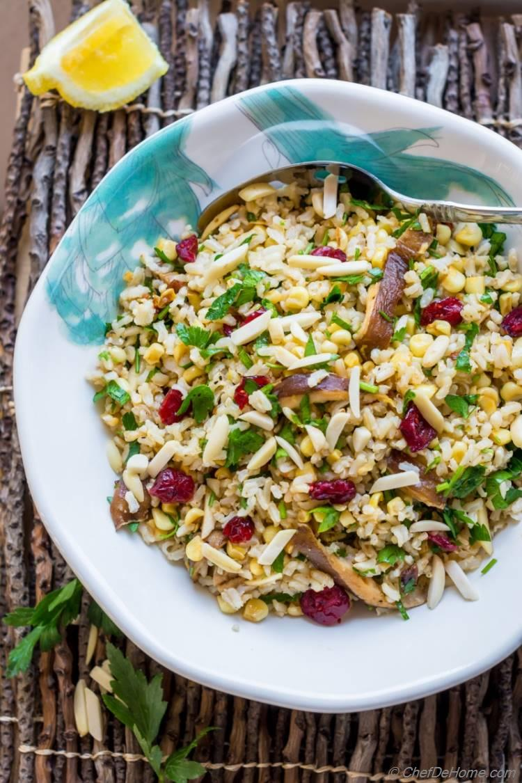 Best delicious Brown Rice Salad which is ready in just 20 minutes and taste so good | chefdehome.com