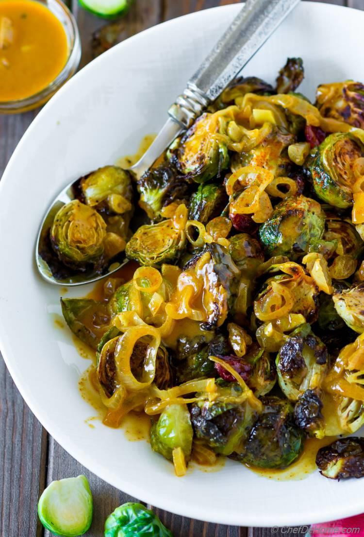 Roasted Brussel Sprouts With Coconut Curry Sauce Recipe Chefdehome Com