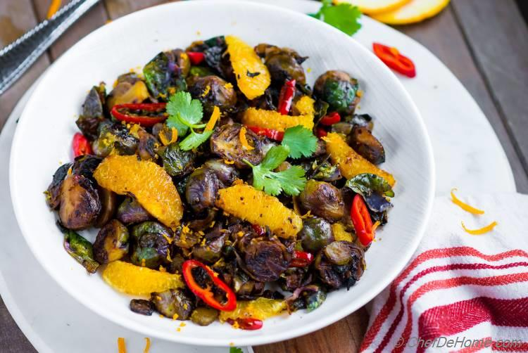 Brussel Sprouts in a Bowl with Orange Chilies