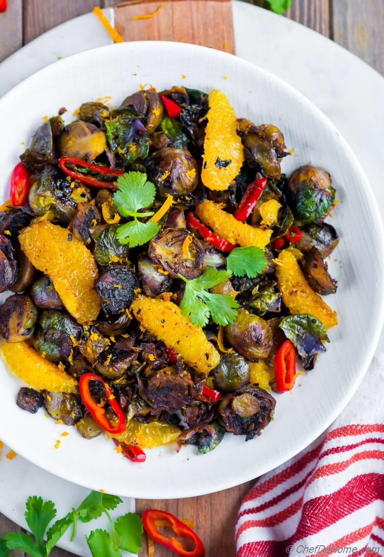 Pan or SKillet Roasted Brusset Sprouts Sweet and Sour with Orange and Soy