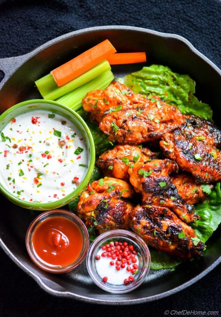 Super Bowl Game Day Baked Wings with Yogurt Ranch Dip