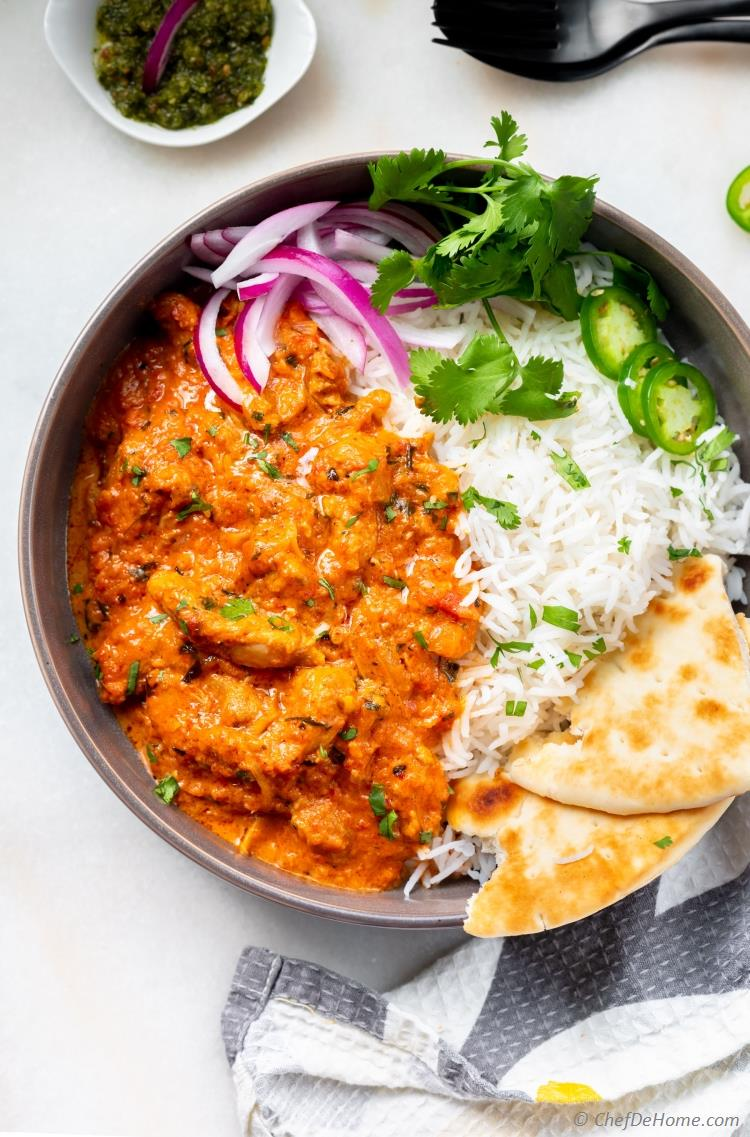 Bowl of delicious Butter Chicken prepared in Instant Pot