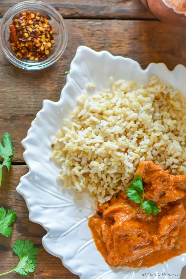 Restaurant Style Butter Chicken served with Basmati Rice for Easy Indian Dinner | chefdehome.com