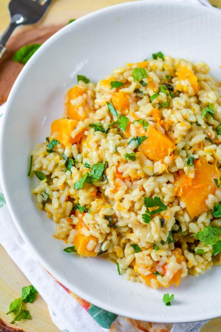 Creamy butternut squash risotto with nutty parmesan and fresh mint | chefdehome.com
