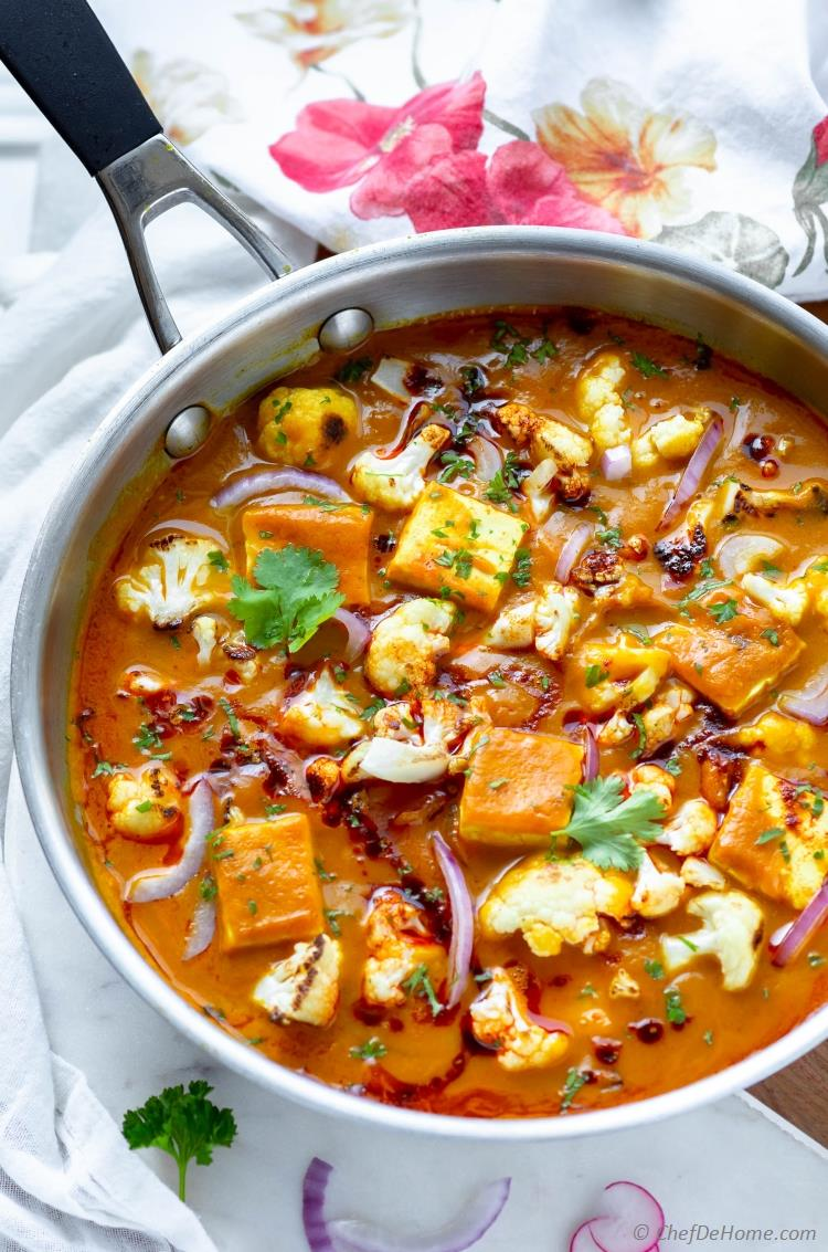 Tofu Butternut Squash Curry with Cauliflower