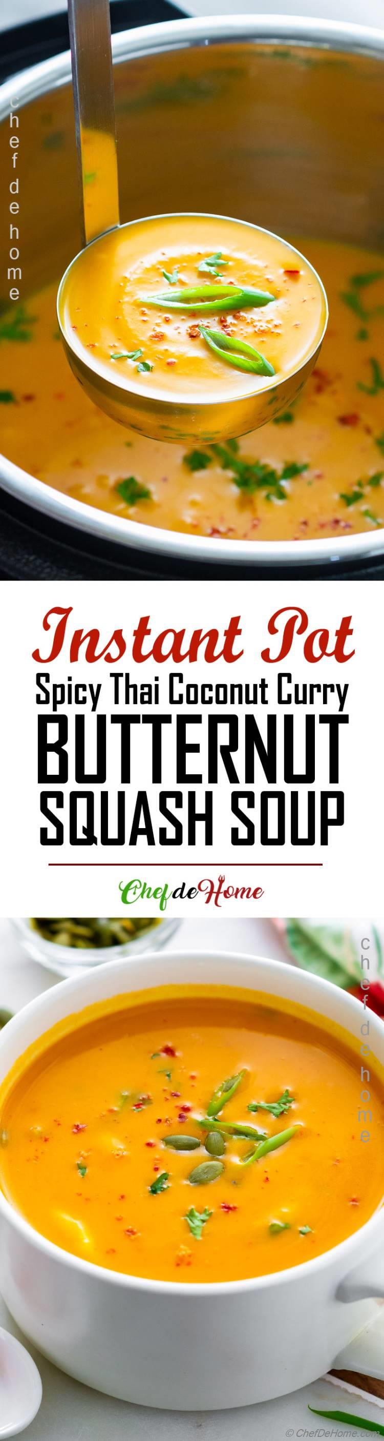 Spicy Butternut Squash Coconut Curry Soup Recipe - Long Picture