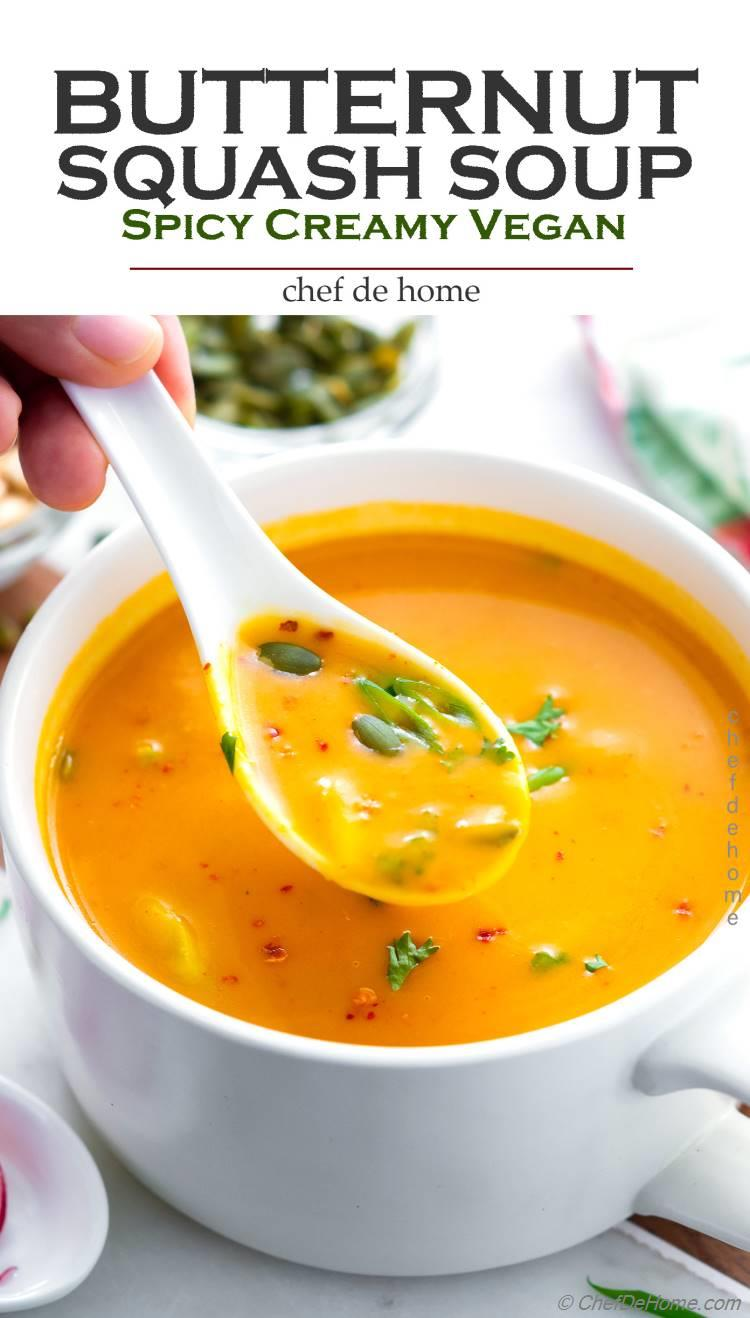 Butternut Squash Soup Creamy Spicy with Coconut Milk and Thai Curry