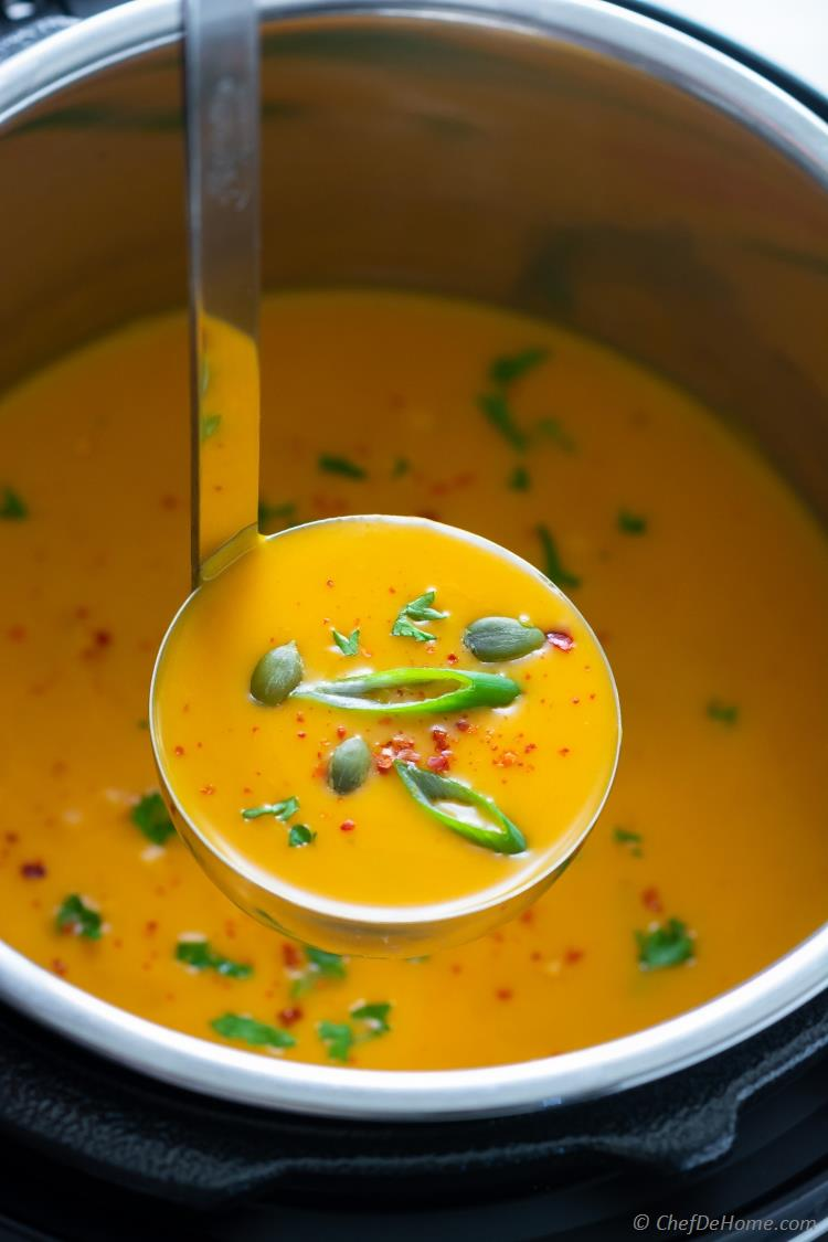 Instant Pot Thai Curry Coconut Milk Butternut Squash Soup