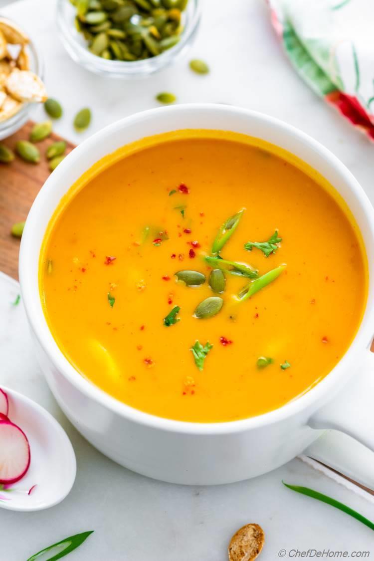 Bowl of Butternut Squash Coconut Milk Soup