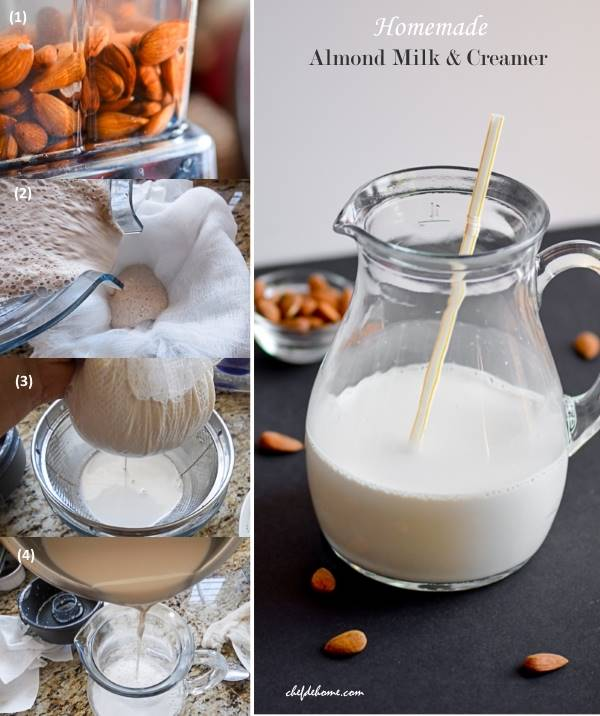 Homemade Almond Milk with Step by Step Pictures - Two simple ingredients and healthy drink