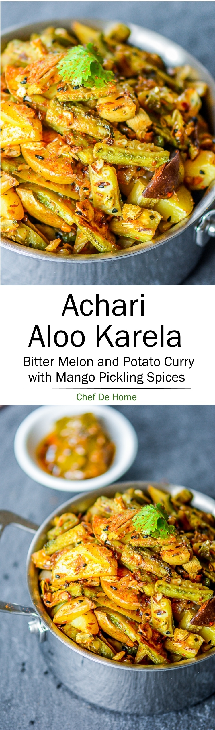 Vegetarian Indian Dinner with Achari Aloo Karela Biter Melon Potato Stir-fry | chefdehome.com