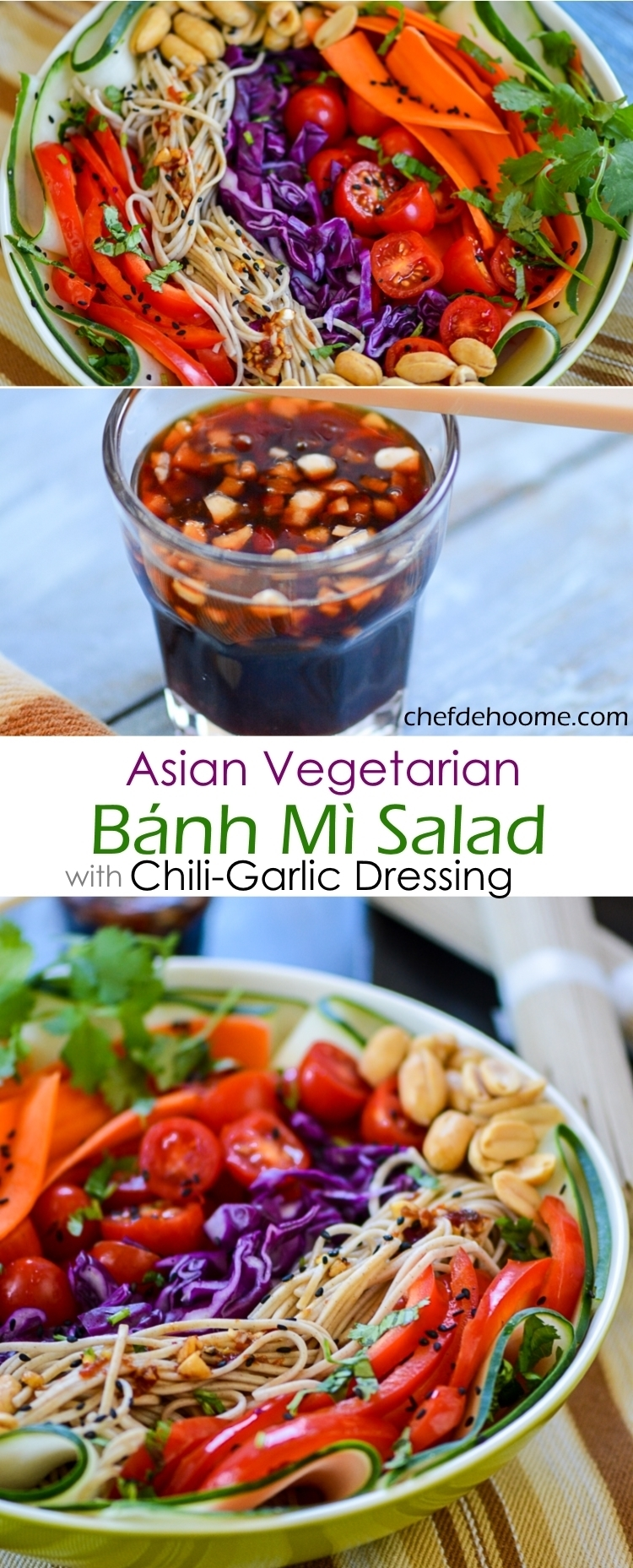 Asian Vegetarian Gluten Free Banh Mi Salad with Sweet and Spicy Chili-Garlic Soy Dressing and Can be VEGAN | chefdehome.com