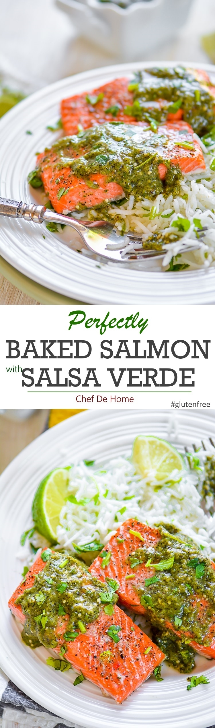 Perfectly baked salmon with roasted salsa verde and cilantro rice for dinner | chefdehome.com