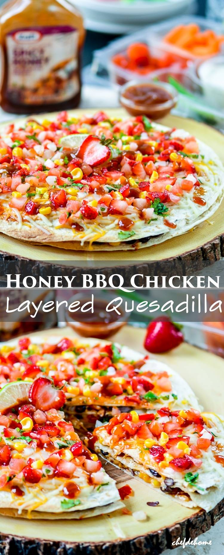 Three Layers of Tortilla with Honey BBQ Chicken and Beans for delicious Party Appetizer | chefdehome.com