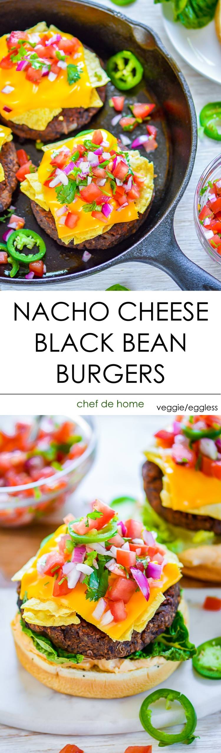 Veggie Black Bean Burger Patties topped with Mexican Nacho Cheese for a crunchy surprise | chefdehome.com