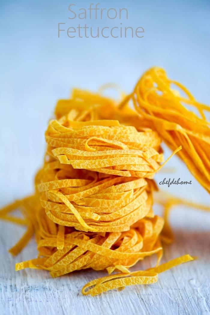 Saffron Fettuccine Pasta | chefdehome.com