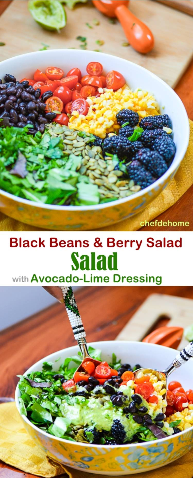Mexican Black Beans and Berry Salad with Zesty Avocado Lime Dressing Vegan and Gluten free | chefdehome.com