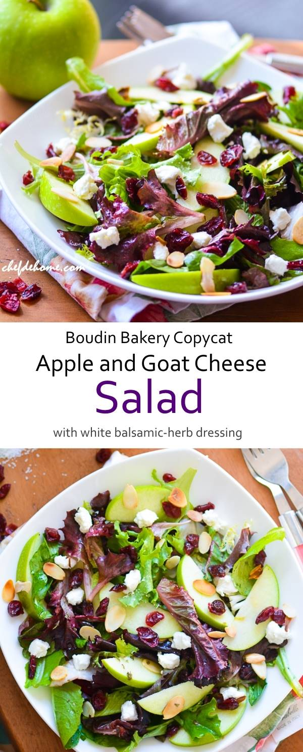 Crisp Apple and Goat Cheese Salad White Balsamic and Herb Dressing - Boudin Bakery Copycat