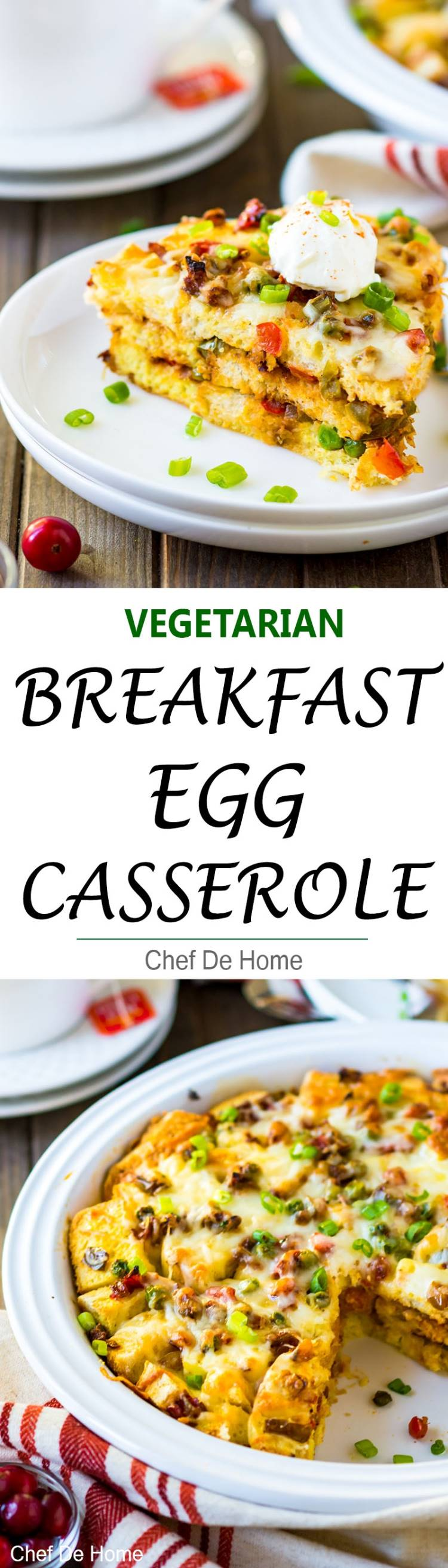 Vegetarian Breakfast Egg Casserole with Indian spices veggies eggs and bread | chefdehome.com