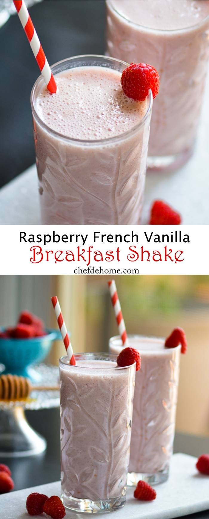 Raspberry French Vanilla Carnation Breakfast Shake | chefdehome.com