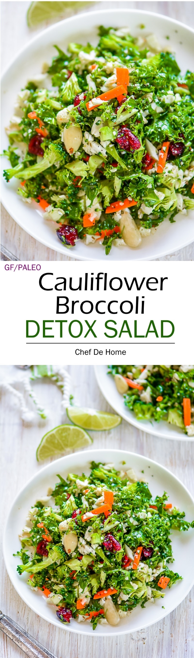 Easy healthy and perfect for summer body detox Broccoli and Cauliflower Detox Salad | chefdehome.com
