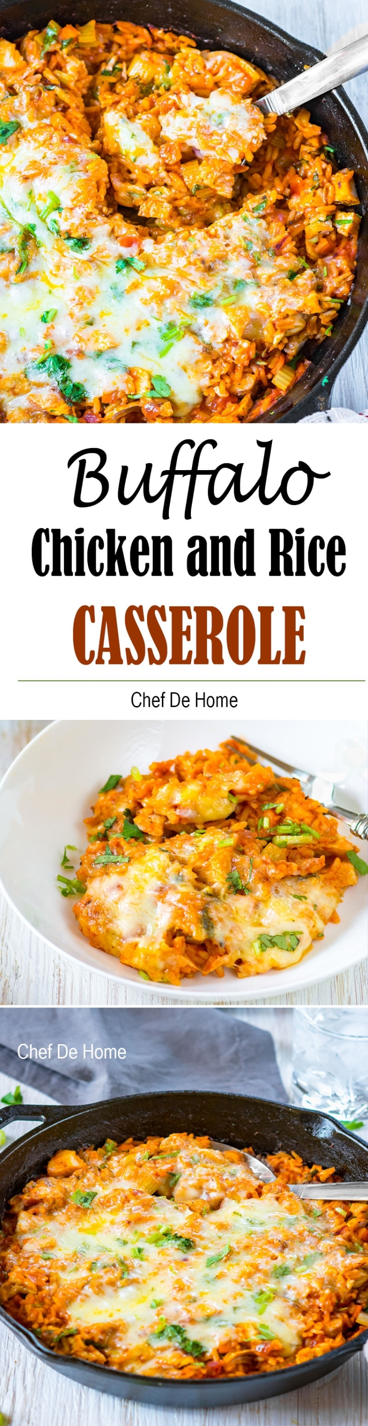 Cheesy Buffalo Chicken and Rice Casserole ready in 25 minutes and loaded with game day flavors | chefdehome.com