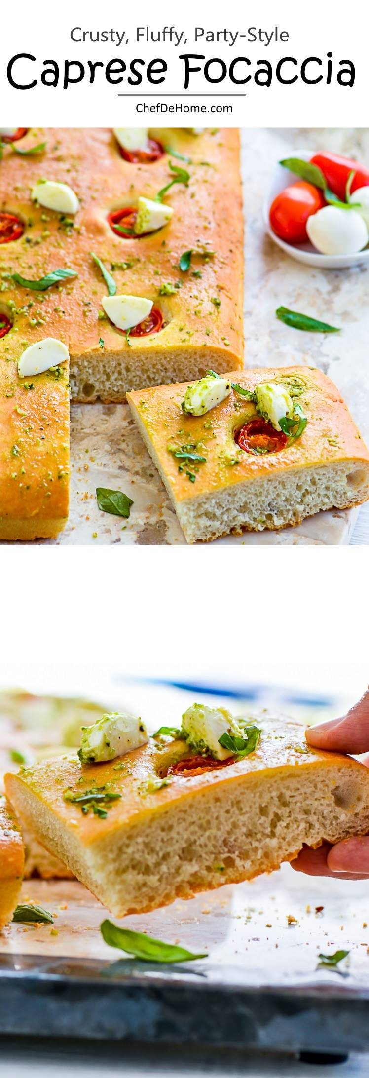 Delicious Caprese Salad topped over Fresh Baked Focaccia | chefdehome.com