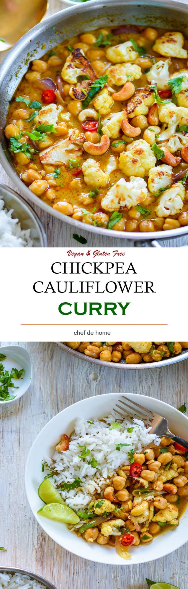 Chickpeas and Cauliflower Curry with basmati rice for dinner | chefdehome.com