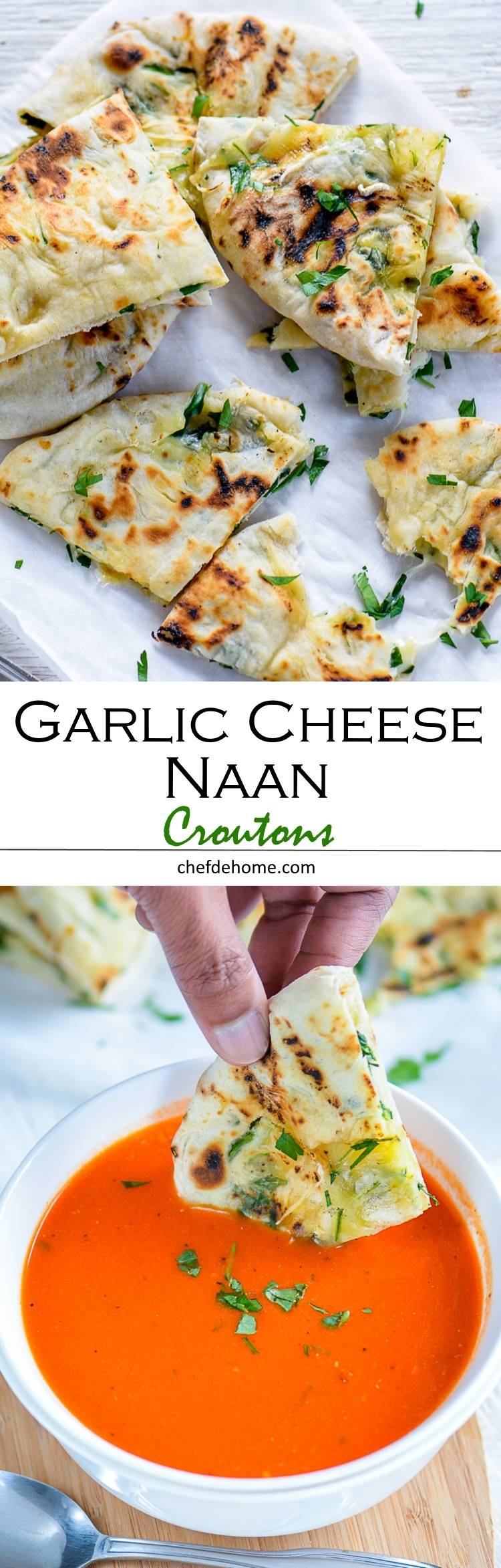 Indian Garlic Naan stuffed with cheese and spinach for homemade cheesy croutons | chefdehome.com