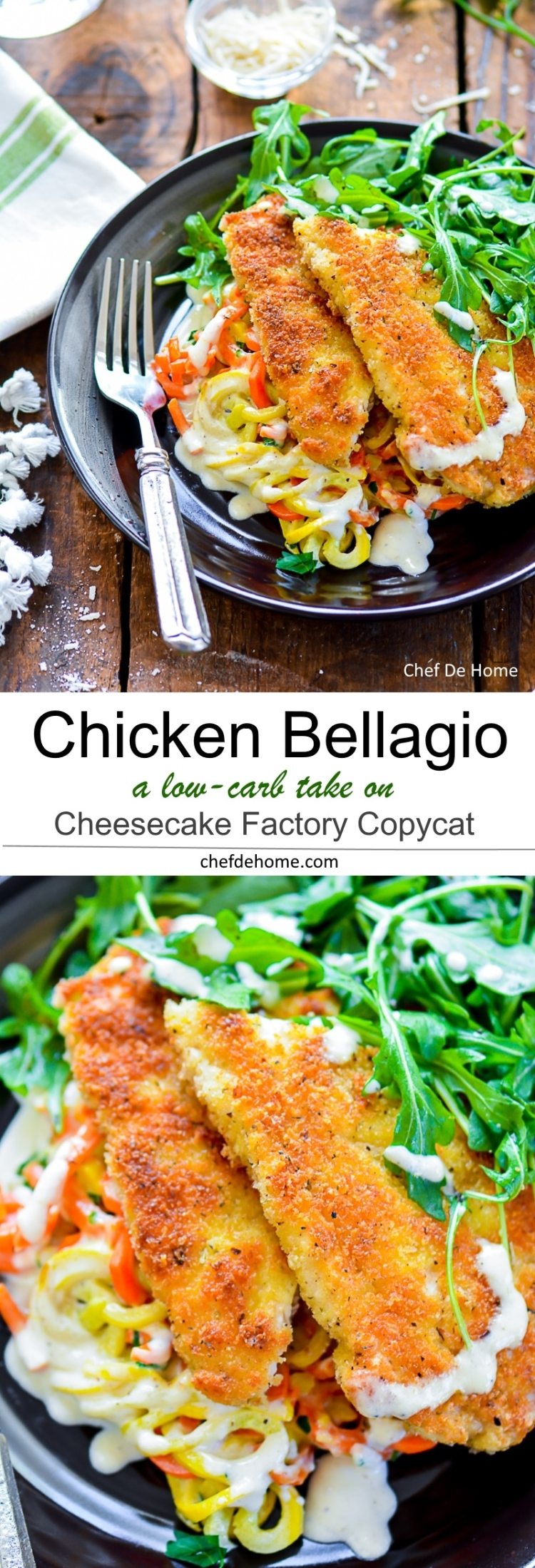 Lightened up Low Carb Cheesecake Factory Copycat Chicken Bellagio Dinner at home with creamy low carb squash pasta | chefdehome.com
