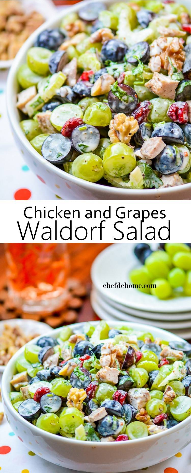 Lite and Fit Gluten Free Chicken Waldorf Salad | chefdehome.com