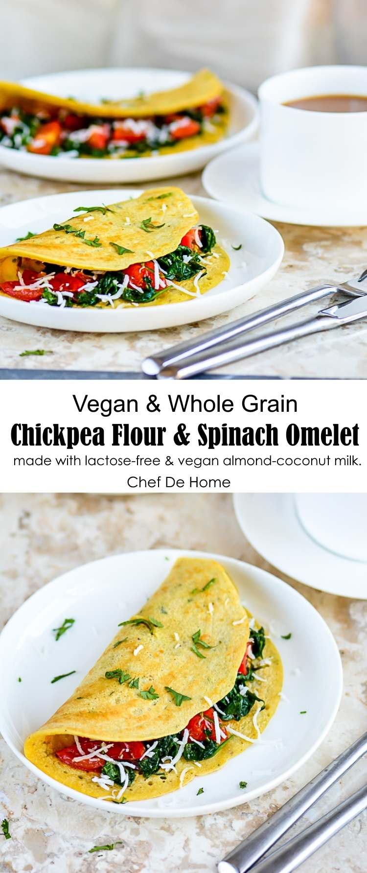 Vegan Chickpea Flour And Spinach Omelets made with Vegan Almond Milk | chefdehome.com