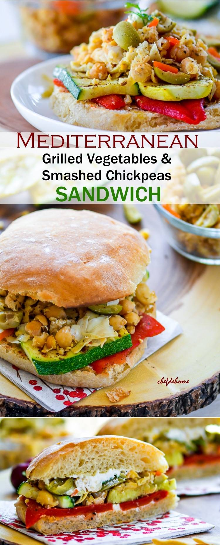 Grilled Zucchini and Summer Squash with Spiced Smashed Chickpeas Sandwich - Can be made vegan - Check the recipe | chefdehome.com