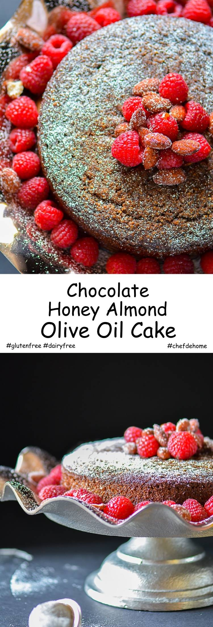 Moist Flourless Gluten free and also refined sugar free Chocolate Honey Almond Olive Oil Cake | chefdehome.com