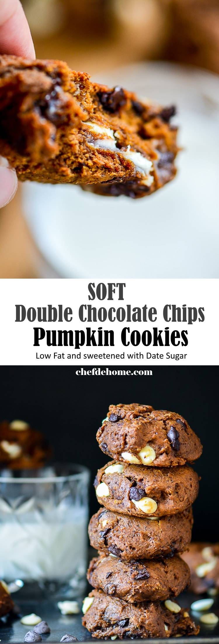 Just 30 minutes for Better than store bought Soft and chewy Double Chocolate Pumpkin Cookies | chefdehome.com