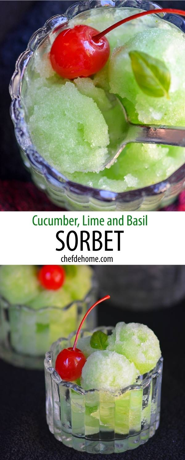 Refreshing Cucumber Lime and Basil Sorbet