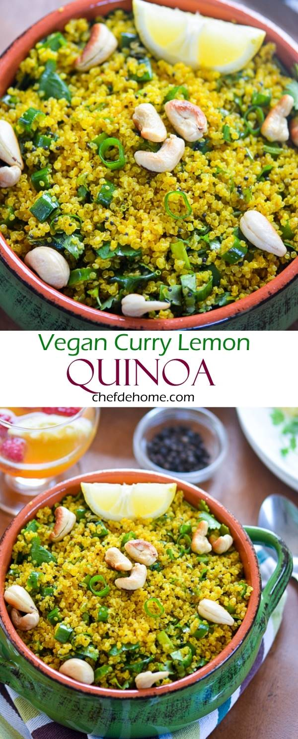 Curry Lemon Quinoa - A Vegan and Gluten Free Dinner Side in just 20 minutes | chefdehome.com