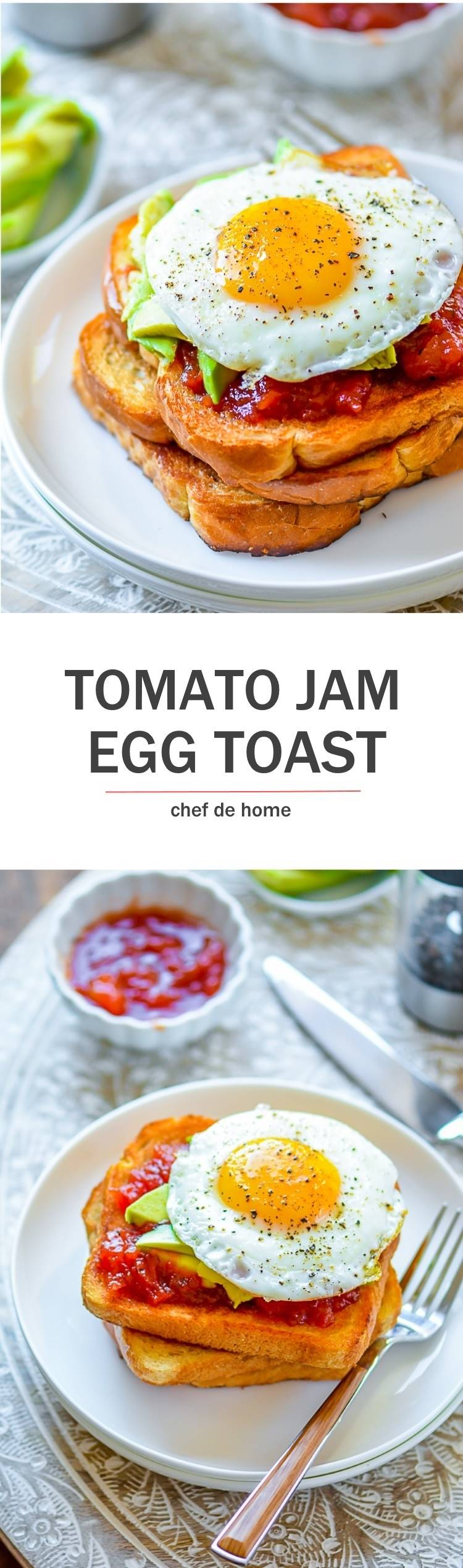 Sunny Side up Eggs with runny yolk and avocado and fresh homemade Tomato Jam on a toast for breakfast | chefdehome.com