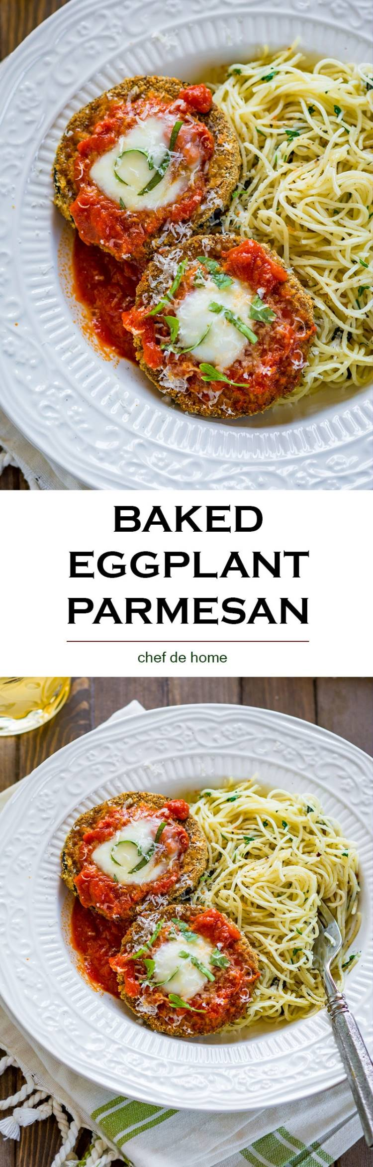Best ever baked eggplant parmesan cook in almost no oil has far less calories and tastes crispy and always comes out evenly cooked | chefdehome.com