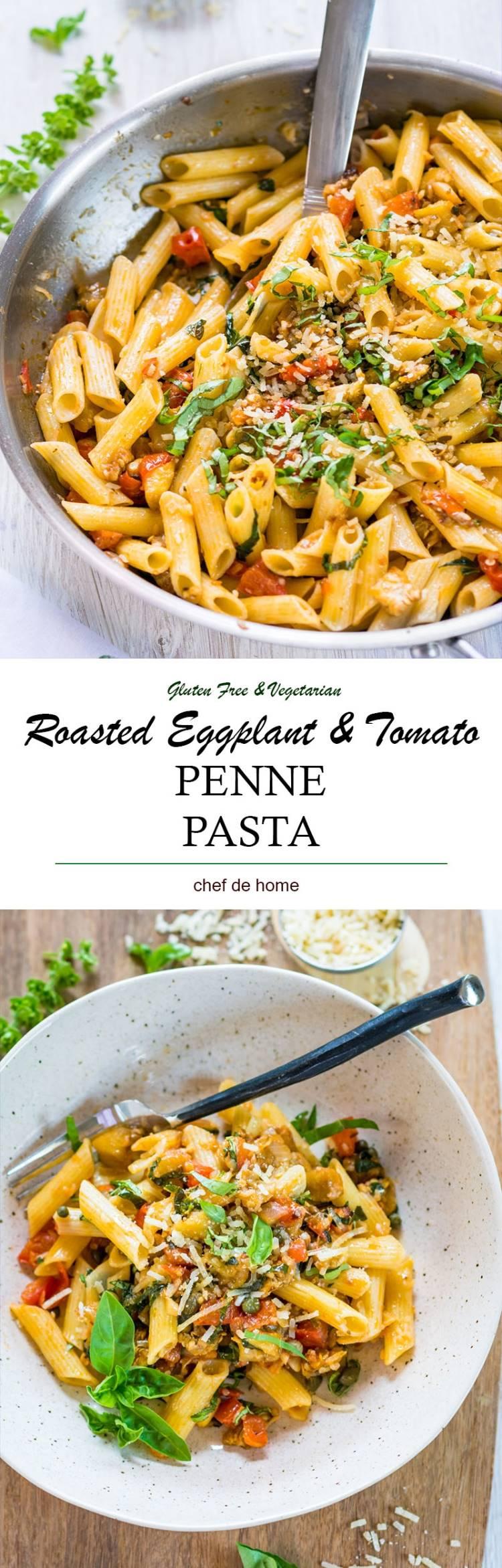 Lite and delicious gluten free eggplant and tomato penne pasta | chefdehome.com