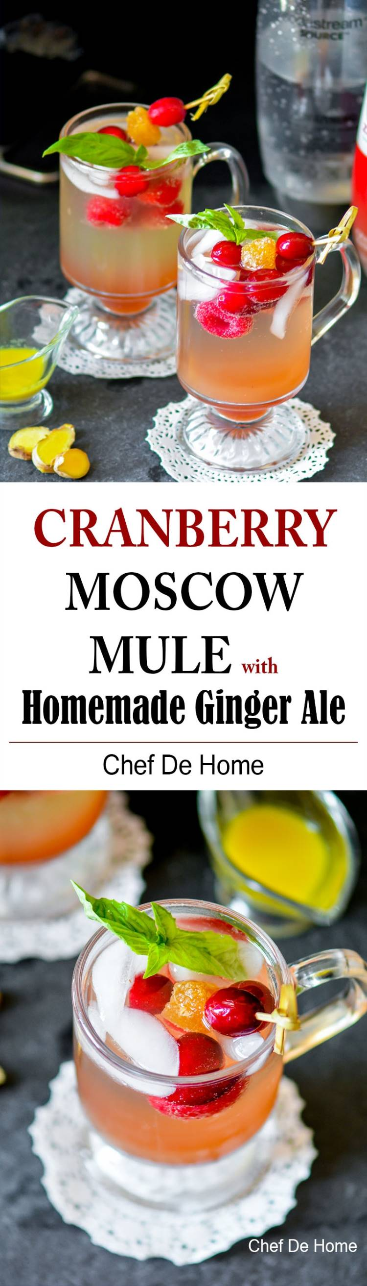 Cranberry Moscow Mule with Homemade Ginger Ale | chefdehome.com