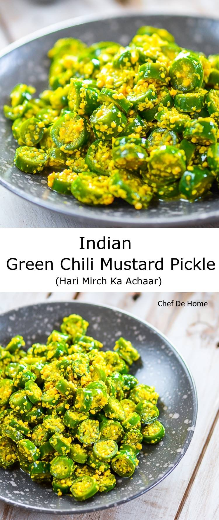 Indian Green Chili Pickle in mustard and lemons | Hari Mirch Ka Achaar | chefdehome.com