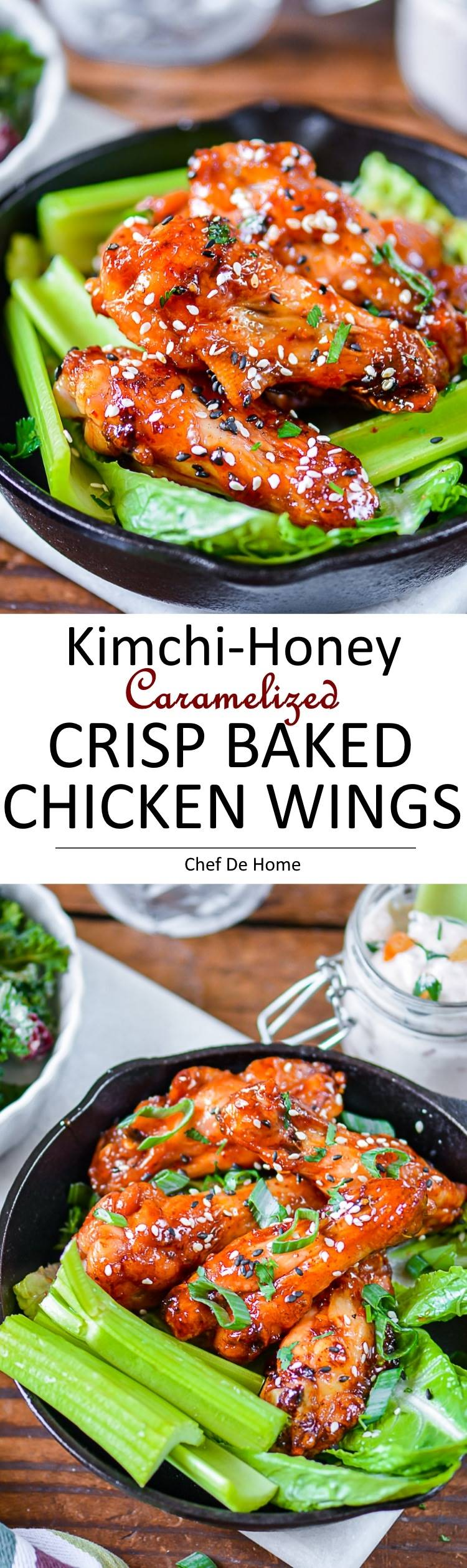 Crispy Baked Kimchi-Honey Caramelized Chicken Wings | chefdehome.com
