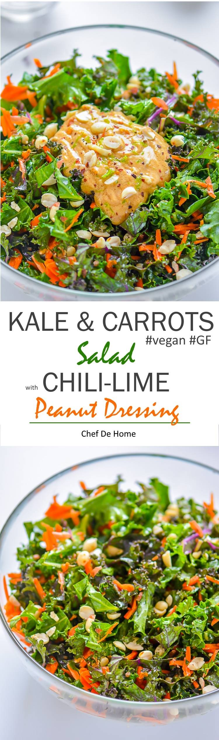 Healthy Vegan Kale and Carrot Salad dressed in vegan and gluten free chili lime peanut dressing | chefdehome.com
