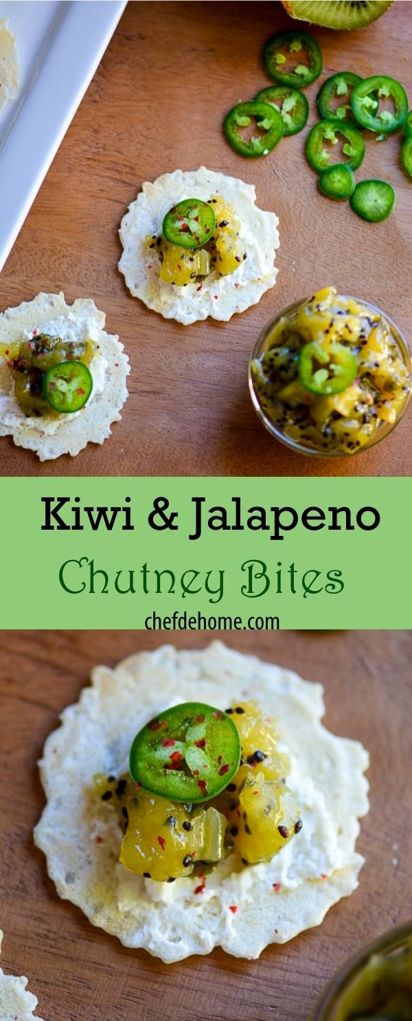 Zesty Sweet-n-sour Kiwi Jalapeno Chutney Bites