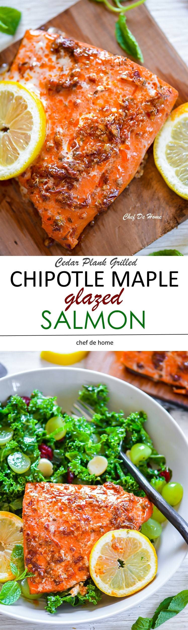 Chipotle Maple Glazed Salmon with Kale Salad | chefdehome.com