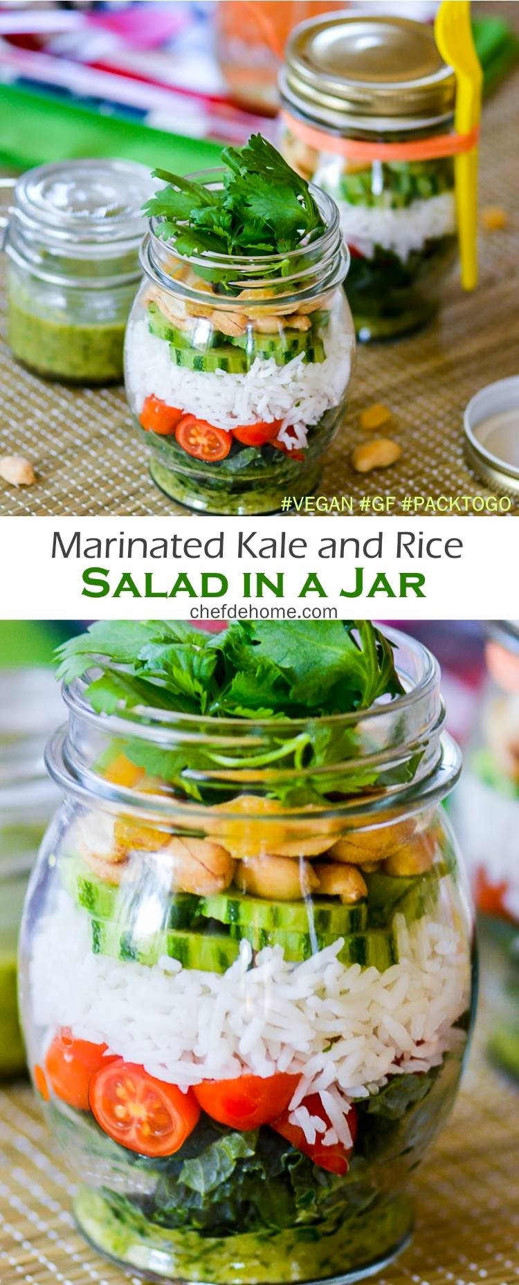 Delicious Salad in a jar for picnic or family fun Road Trip | chefdehome.com