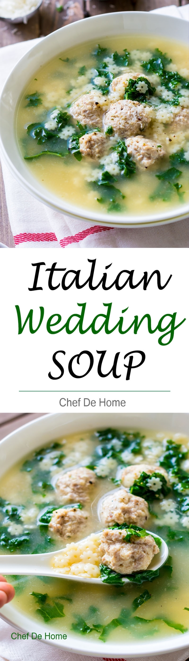 One pot Italian wedding soup with pasta meatballs and kale for comforting winter dinner | chefdehome.com