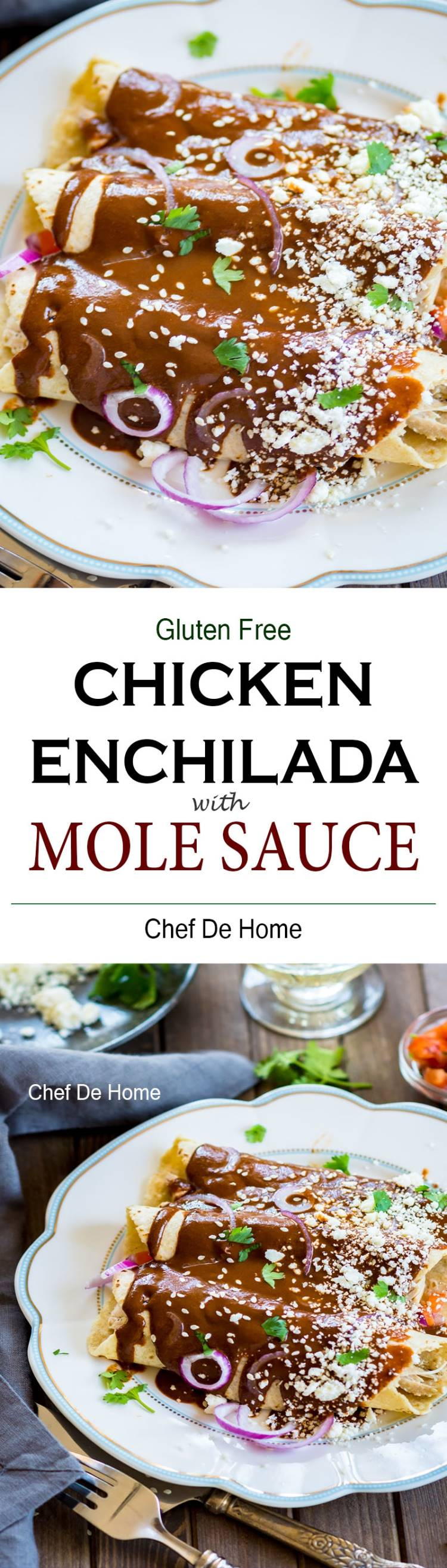 Easy homemade an flavorful Mexican Mole Sauce made from scratch in just 30 minutes and served over chicken enchiladas | chefdehome.com