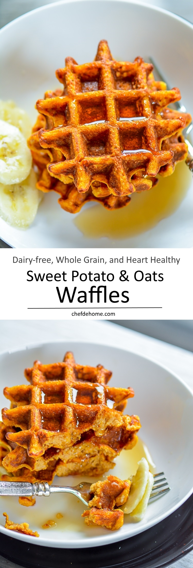 Enjoy a healthy breakfast with Family with waffles made with Whole Grain Oats and sweet potatoes and can be vegan | chefdehome.com